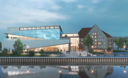 Sønderborgs Multikulturhus  tager afsæt i Frank Gehrys masterplan for Sønderborgs havnefront, med skævvredne bygningskroppe.