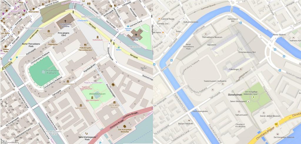 Et udsnit af det centrale København. Open Street Map til venstre, Google Map til højre.