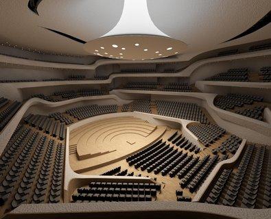 Der Große Saal i Elbphilharmonie har plads til 2.100 tilskuere.